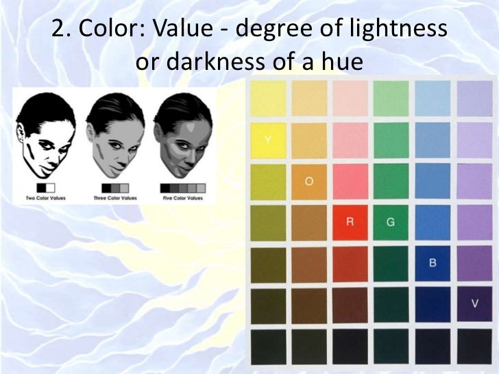 2. Color: Value - degree of lightness or darkness of a hue<br />