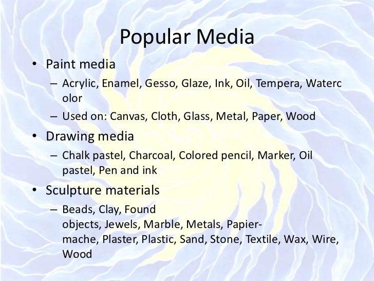 Popular Media<br />Paint media<br />Acrylic, Enamel, Gesso, Glaze, Ink, Oil, Tempera, Watercolor<br />Used on: Canvas, Clo...