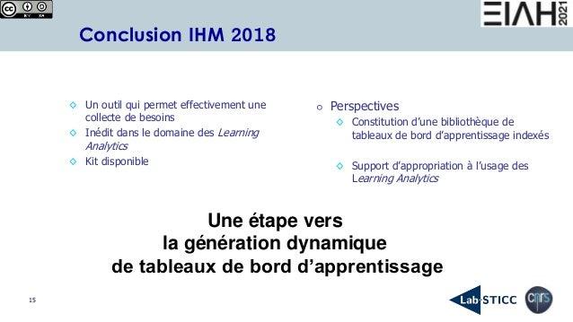 15 Conclusion IHM 2018 ◊ Un outil qui permet effectivement une collecte de besoins ◊ Inédit dans le domaine des Learning A...