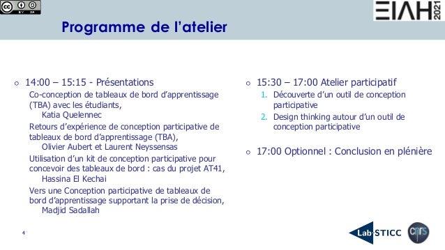 4 Programme de l'atelier ⚪ 14:00 – 15:15 - Présentations Co-conception de tableaux de bord d'apprentissage (TBA) avec les ...