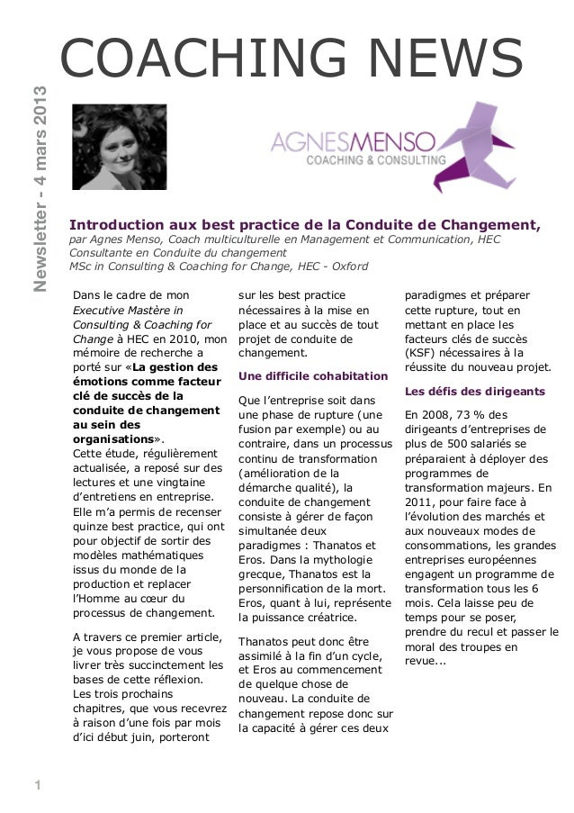 1Introduction aux best practice de la Conduite de Changement,par Agnes Menso, Coach multiculturelle en Management et Commu...