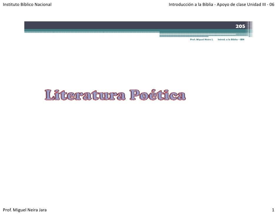 InstitutoBíblicoNacional   IntroducciónalaBiblia‐ ApoyodeclaseUnidadIII‐ 06                                    ...