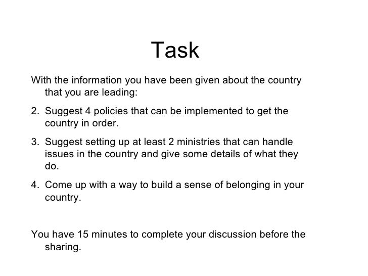 TaskWith the information you have been given about the country   that you are leading:2. Suggest 4 policies that can be im...