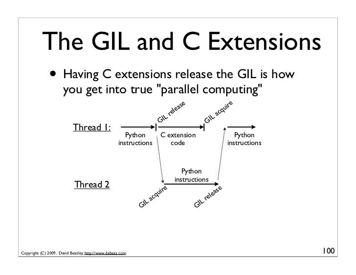 The GIL and C Extensions               • Having C extensions release the GIL is how                       you get into tru...