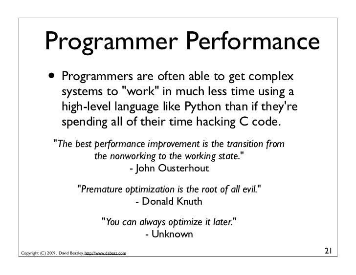 """Programmer Performance               • Programmers are often able to get complex                      systems to """"work"""" in..."""