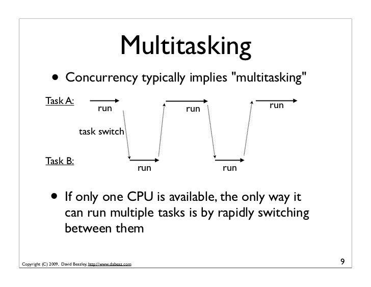"Multitasking               • Concurrency typically implies ""multitasking""             Task A:                             ..."