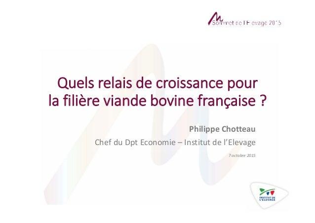 Quelsrelaisdecroissancepour lafilièreviandebovinefrançaise? PhilippeChotteau ChefduDpt Economie– Institutde...