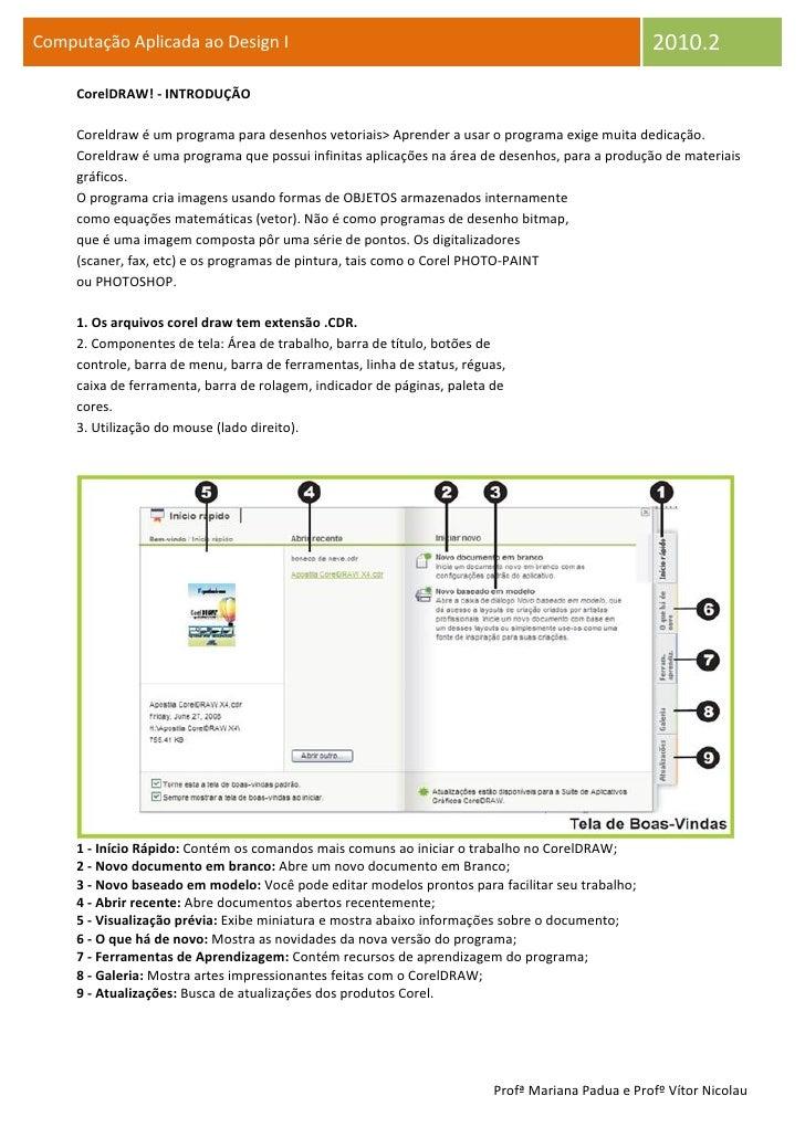 Computação Aplicada ao Design I                                                                   2010.2      CorelDRAW! -...