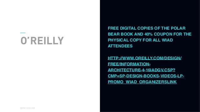 01 WORLD IA DAY 2016 O'REILLY FREE DIGITAL COPIES OF THE POLAR BEAR BOOK AND 40% COUPON FOR THE PHYSICAL COPY FOR ALL WIAD...