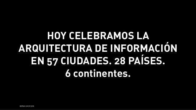 WORLD IA DAY 2016 HOY CELEBRAMOS LA ARQUITECTURA DE INFORMACIÓN EN 57 CIUDADES. 28 PAÍSES. 6 continentes.
