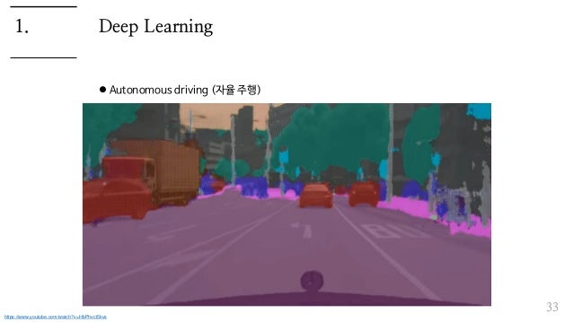 Deep Learning  Autonomous driving (자율 주행) 33 1. https://www.youtube.com/watch?v=HbPhvct5kvs