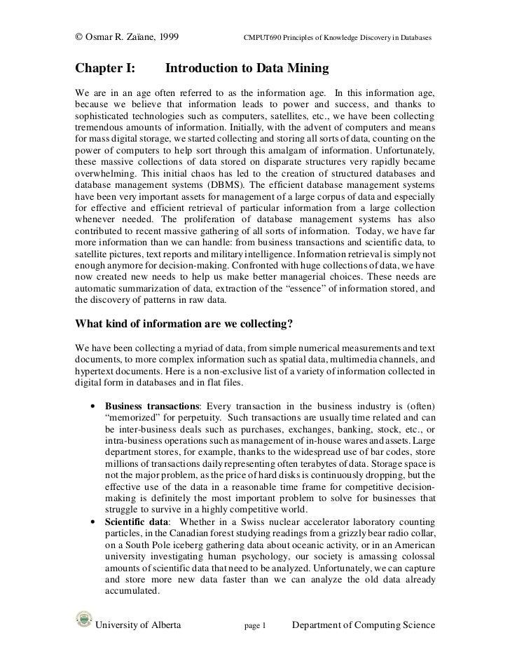 © Osmar R. Zaïane, 1999                     CMPUT690 Principles of Knowledge Discovery in DatabasesChapter I:             ...