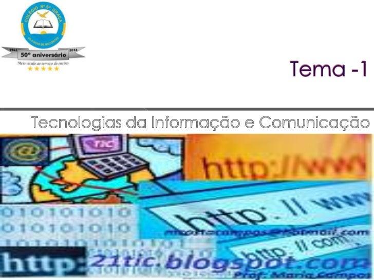 O termo TIC designa o conjunto derecursos tecnológicos e computacionaispara criação, utilização earmazenamento da informaç...