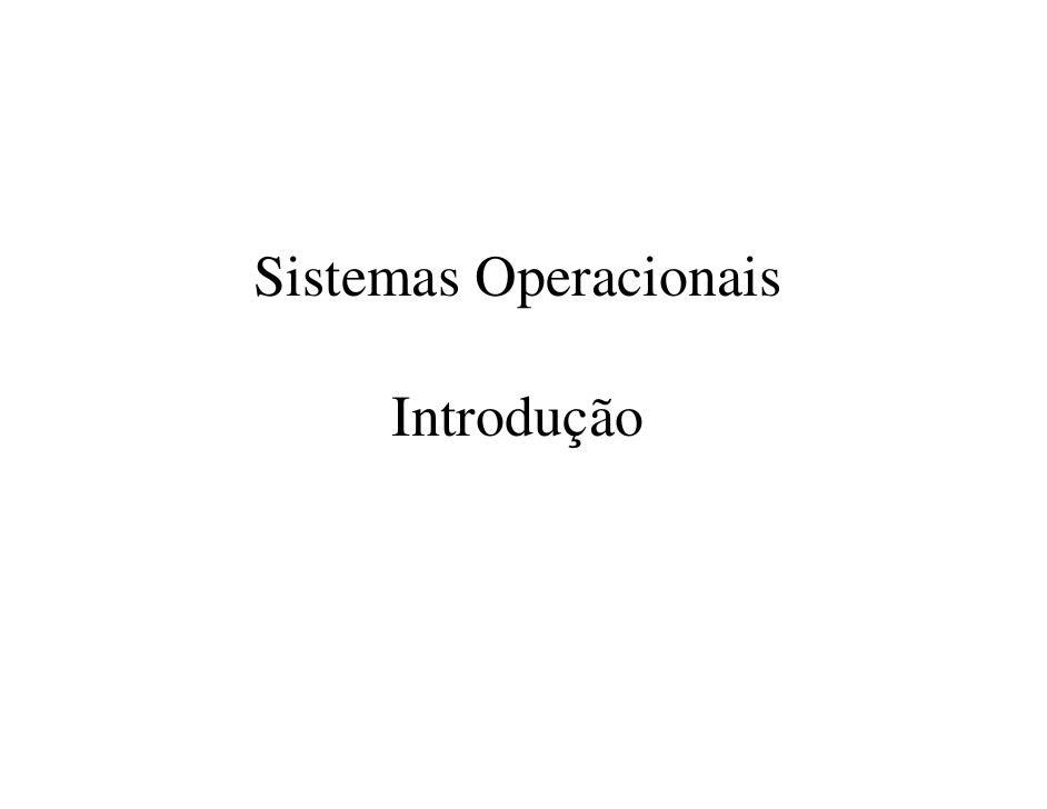 Sistemas Operacionais     Introdução