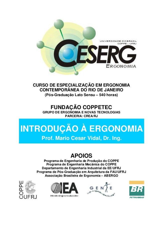 CURSO DE ESPECIALIZAÇÃO EM ERGONOMIA CONTEMPORÂNEA DO RIO DE JANEIRO (Pós-Graduação Lato Sensu – 540 horas) FUNDAÇÃO COPPE...