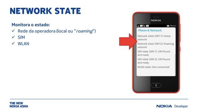 """NETWORK STATE Monitora o estado:  Rede da operadora (local ou """"roaming"""")  SIM  WLAN"""