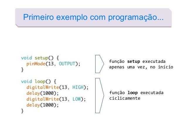 Primeiro exemplo com programação... função setup executada apenas uma vez, no início função loop executada ciclicamente