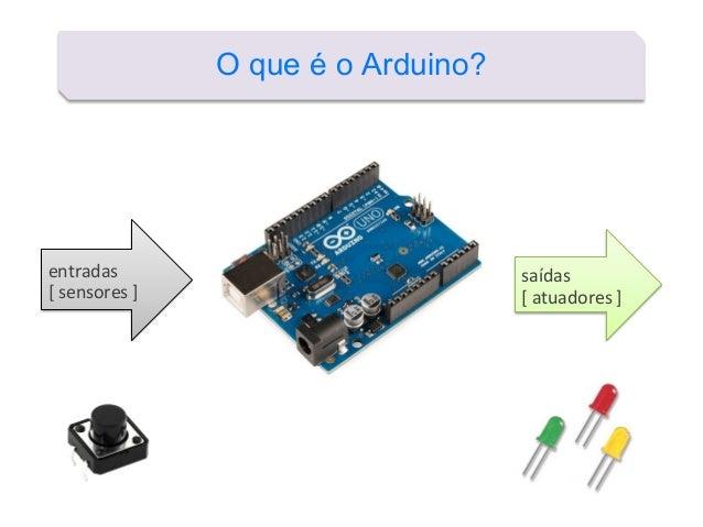 O que é o Arduino? entradas [ sensores ] saídas [ atuadores ]