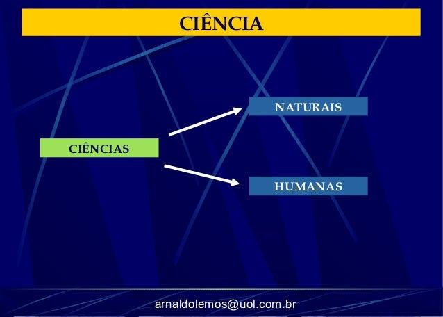 CIÊNCIA                              NATURAISCIÊNCIAS                              HUMANAS           arnaldolemos@uol.com.br
