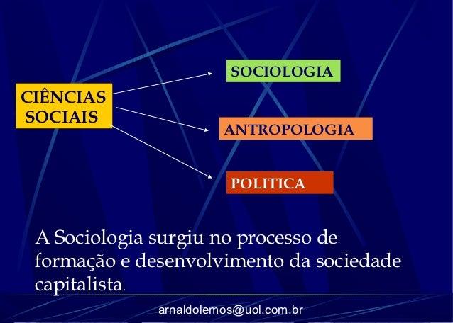 SOCIOLOGIACIÊNCIASSOCIAIS                        ANTROPOLOGIA                         POLITICA A Sociologia surgiu no proc...