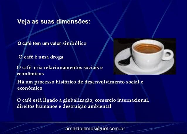Veja as suas dimensões:O café tem um valor simbólicoO café é uma drogaO café cria relacionamentos sociais eeconômicosHá um...