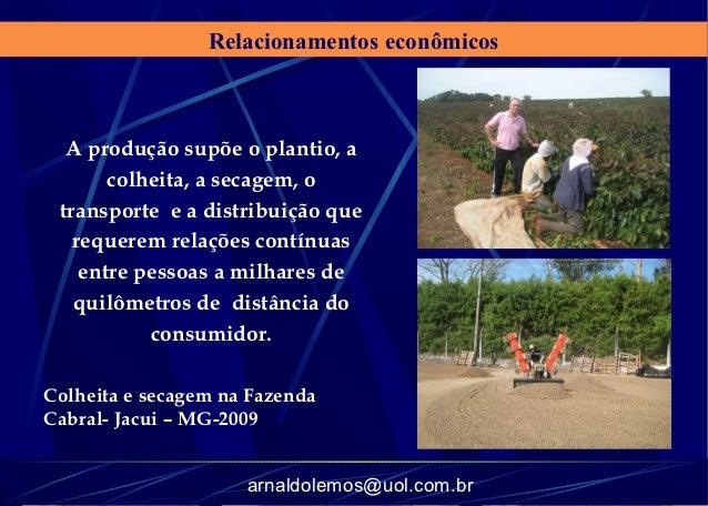 Relacionamentos econômicos  A produção supõe o plantio, a       colheita, a secagem, o transporte e a distribuição que   r...