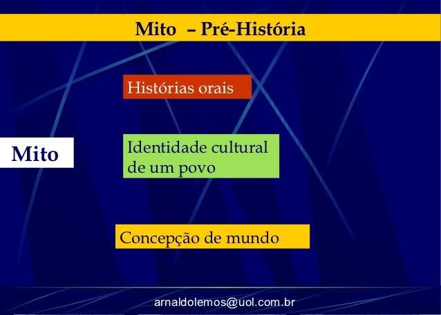 Mito – Pré-História       Histórias orais       Identidade culturalMito       de um povo       Concepção de mundo         ...