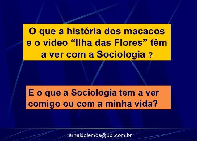"""O que a história dos macacose o vídeo """"Ilha das Flores"""" têm   a ver com a Sociologia ?E o que a Sociologia tem a vercomigo..."""