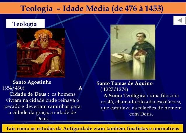 Teologia – Idade Média (de 476 à 1453)    Teologia     Santo Agostinho                  Santo Tomas de Aquino(354/430)    ...