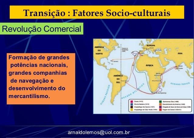Transição : Fatores Socio-culturaisRevolução Comercial Formação de grandes potências nacionais, grandes companhias de nave...
