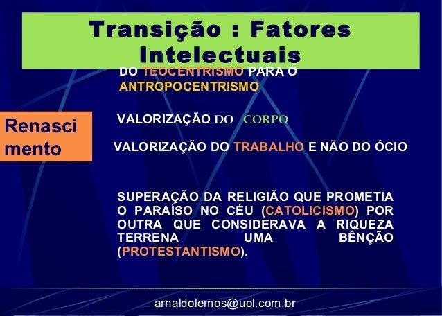 Transição : Fatores             Intelectuais            DO TEOCENTRISMO PARA O            ANTROPOCENTRISMO            VALO...