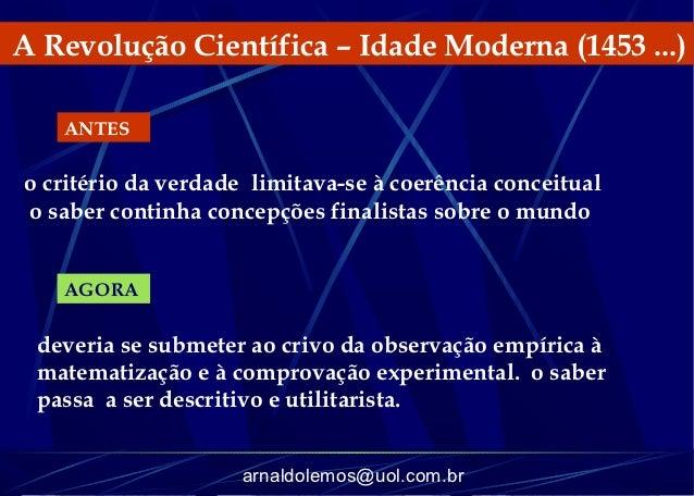 A Revolução Científica – Idade Moderna (1453 ...)   ANTESo critério da verdade limitava-se à coerência conceitualo saber c...
