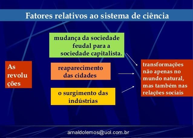 Fatores relativos ao sistema de ciência            mudança da sociedade                 feudal para a             sociedad...