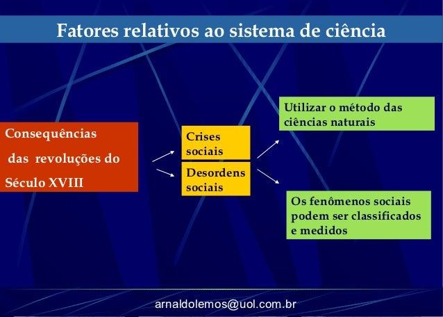 Fatores relativos ao sistema de ciência                                        Utilizar o método das                      ...