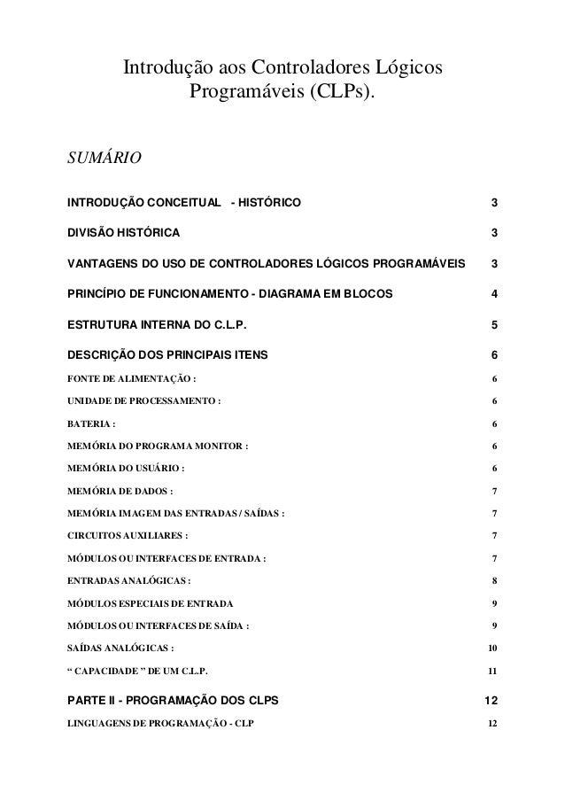 Introdução aos Controladores Lógicos Programáveis (CLPs). SUMÁRIO INTRODUÇÃO CONCEITUAL - HISTÓRICO 3 DIVISÃO HISTÓRICA 3 ...