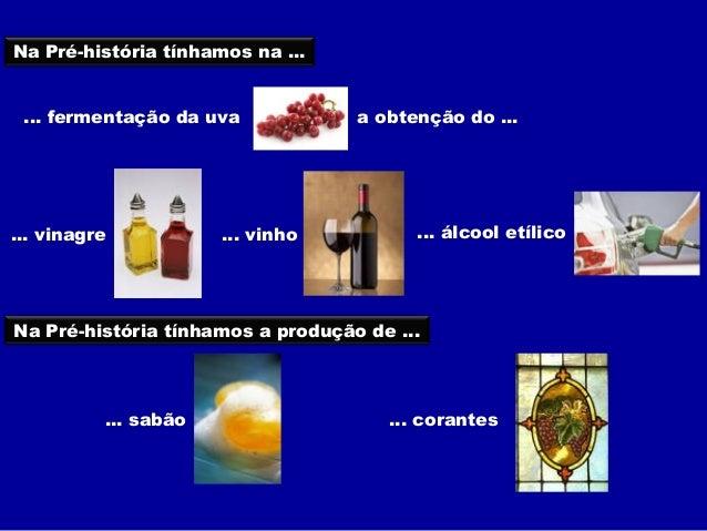 Na Pré-história tínhamos na ... ... fermentação da uva            a obtenção do ...... vinagre           ... vinho        ...