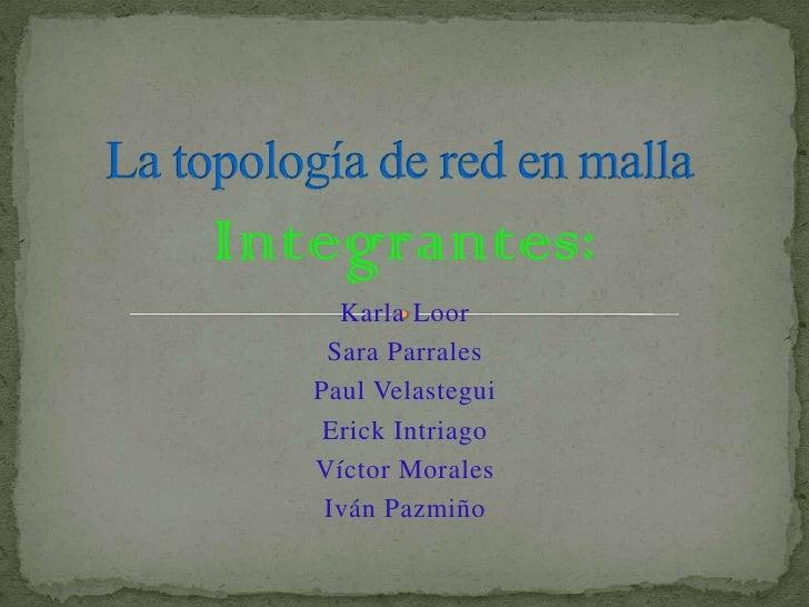 La topología de red en malla <br />Integrantes:<br />Karla Loor<br />Sara Parrales<br />Paul Velastegui<br />Erick Intriag...