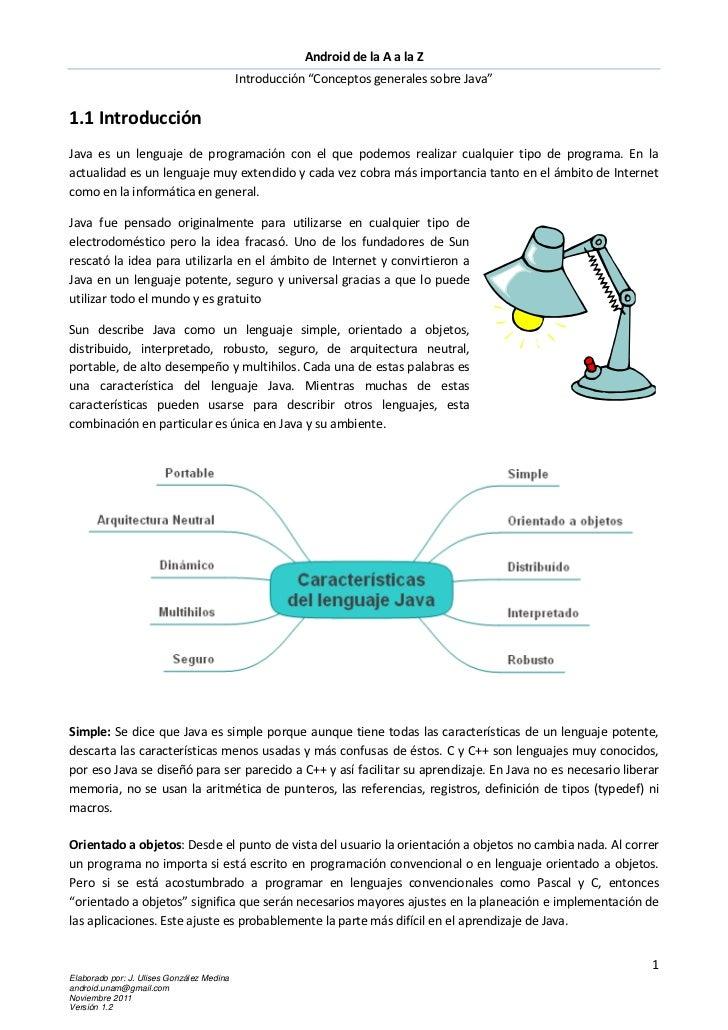 """Android de la A a la Z                                           Introducción """"Conceptos generales sobre Java""""1.1 Introduc..."""