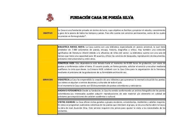FUNDACIÓN CASA DE POESÍA SILVA            La Casa es una fundación privada sin ánimo de lucro, cuyo objetivo es facilitar ...