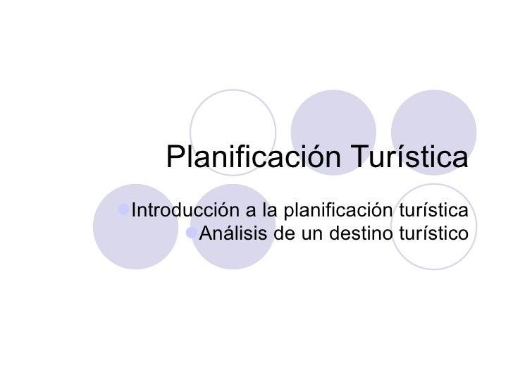 Introducción a la Planificación Turística
