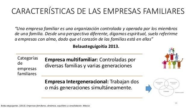 """CARACTERÍSTICAS DE LAS EMPRESAS FAMILIARES """"Una empresa familiar es una organización controlada y operada por los miembros..."""
