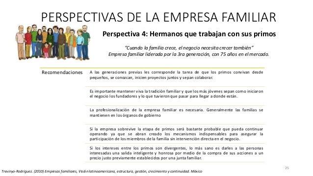 25 Perspectiva 4: Hermanos que trabajan con sus primos PERSPECTIVAS DE LA EMPRESA FAMILIAR Trevinyo-Rodríguez. (2010) Empr...