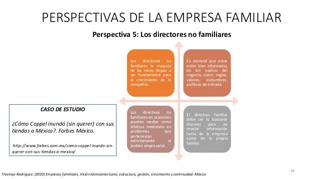 26 Perspectiva 5: Los directores no familiares PERSPECTIVAS DE LA EMPRESA FAMILIAR Trevinyo-Rodríguez. (2010) Empresas fam...