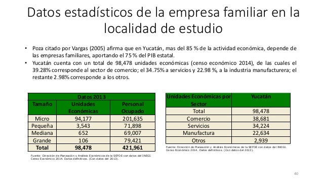 40 • Poza citado por Vargas (2005) afirma que en Yucatán, mas del 85 % de la actividad económica, depende de las empresas ...