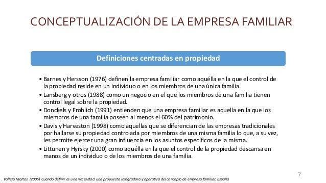 CONCEPTUALIZACIÓN DE LA EMPRESA FAMILIAR Definiciones centradas en propiedad • Barnes y Hersson (1976) definen la empresa ...