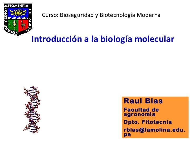Introducción a la biología molecular  Raul Blas Facultad de agronomia Dpto. Fitotecnia [email_address] Curso: Bioseguridad...