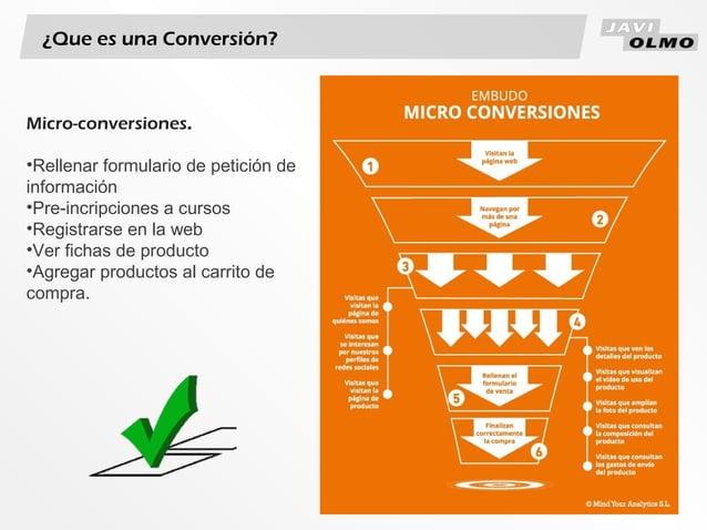 ¿Que es una Conversión?Micro-conversiones.•Rellenar formulario de petición deinformación•Pre-incripciones a cursos•Registr...