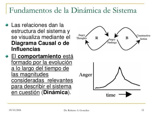 09/10/2006 Dr. Roberto A. González 12 Fundamentos de la Dinámica de Sistema Las relaciones dan la estructura del sistema y...