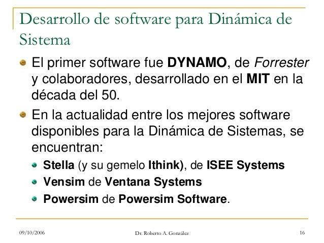 09/10/2006 Dr. Roberto A. González 16 Desarrollo de software para Dinámica de Sistema El primer software fue DYNAMO, de Fo...