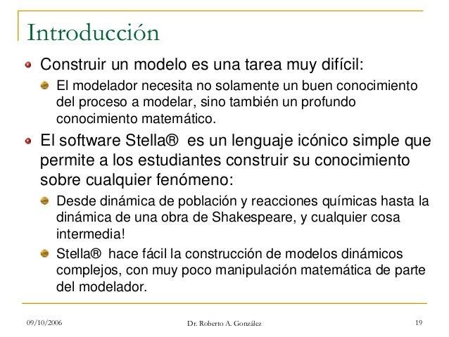 09/10/2006 Dr. Roberto A. González 19 Introducción Construir un modelo es una tarea muy difícil: El modelador necesita no ...